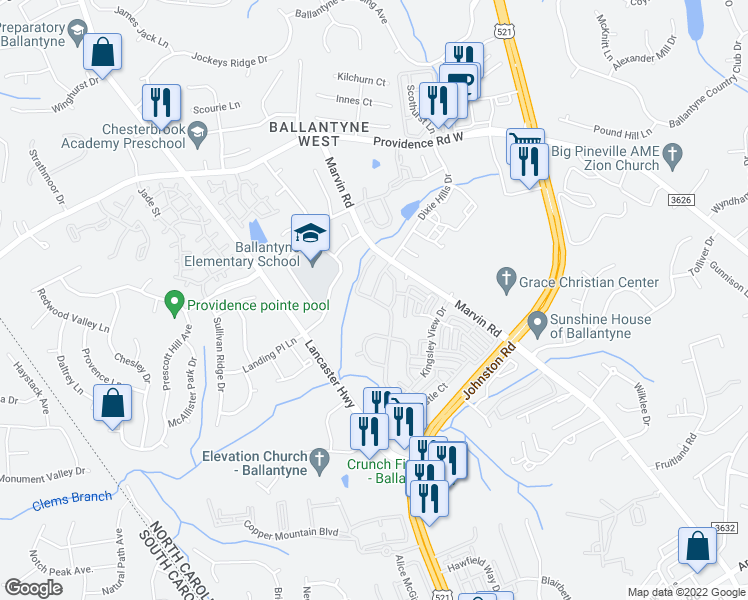 map of restaurants, bars, coffee shops, grocery stores, and more near 12113 Royal Castle Court in Charlotte