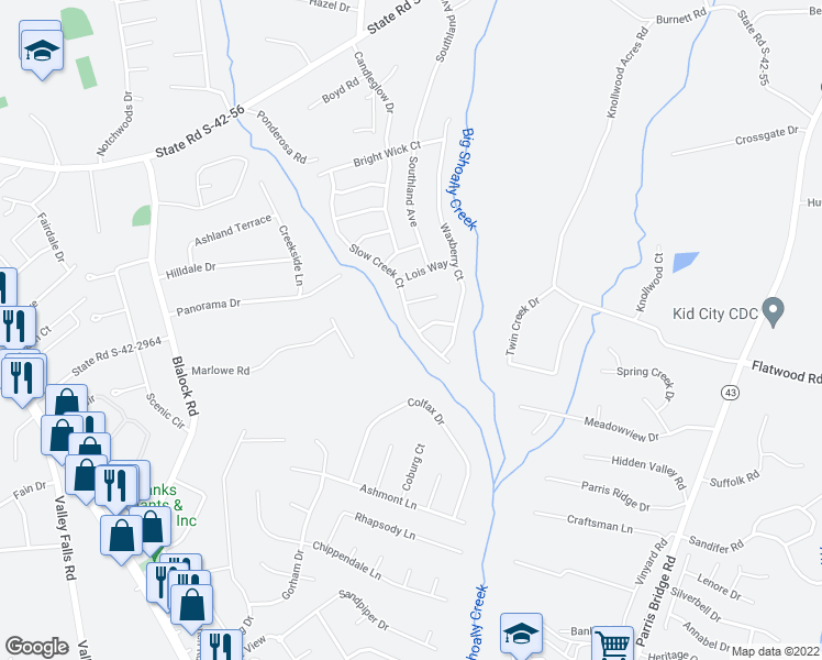 map of restaurants, bars, coffee shops, grocery stores, and more near 1038 Slow Creek Court in Boiling Springs