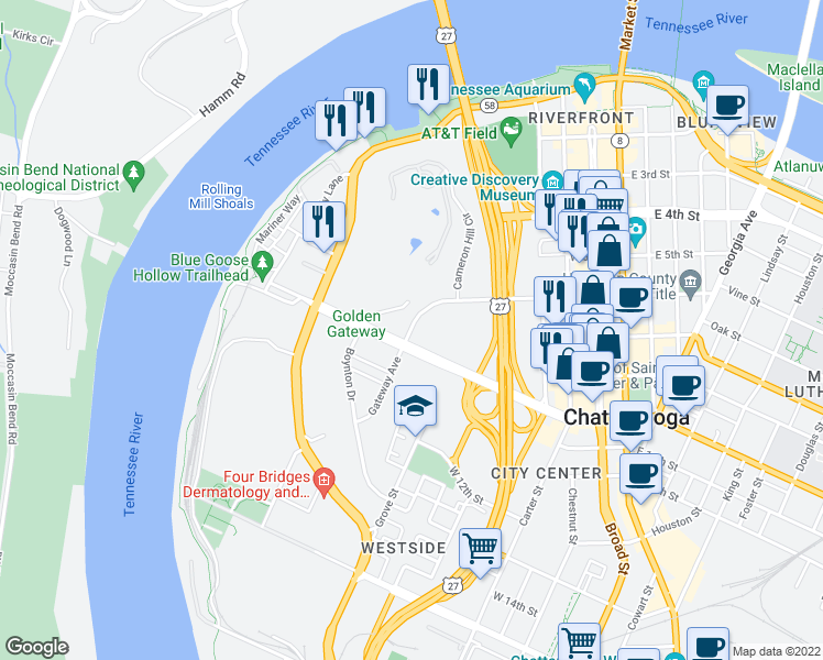 map of restaurants, bars, coffee shops, grocery stores, and more near 547-647 Martin Luther King Boulevard in Chattanooga