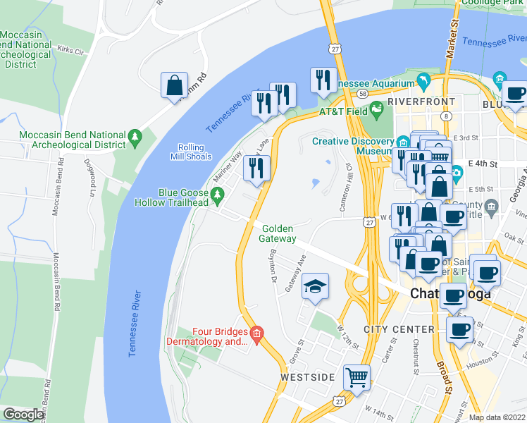 map of restaurants, bars, coffee shops, grocery stores, and more near 804 Riverfront Parkway in Chattanooga