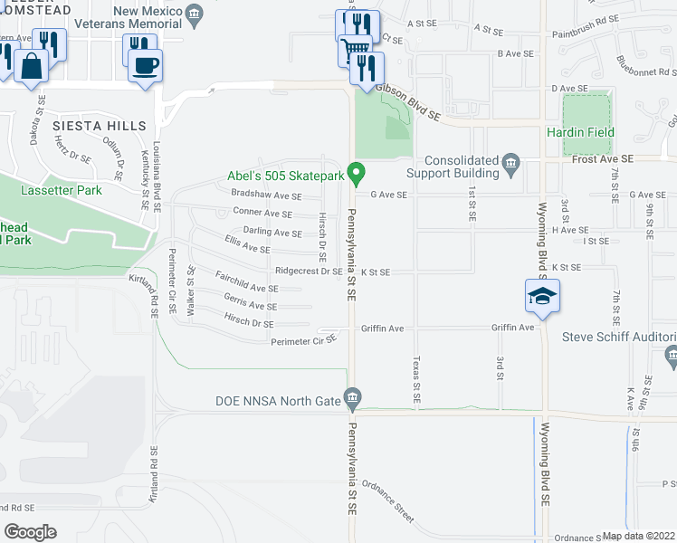 map of restaurants, bars, coffee shops, grocery stores, and more near Ridgecrest Dr SE in Albuquerque