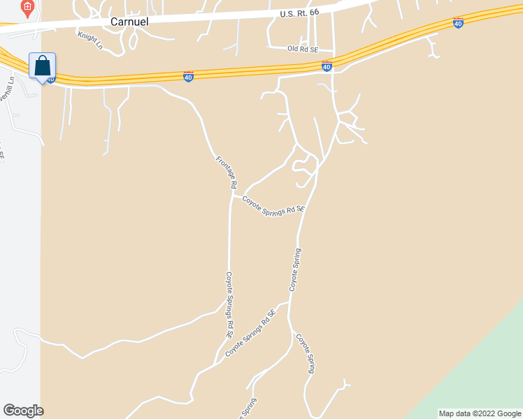 map of restaurants, bars, coffee shops, grocery stores, and more near 60 Coyote Springs Road Southeast in Albuquerque