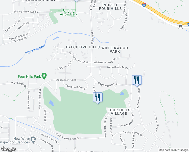 map of restaurants, bars, coffee shops, grocery stores, and more near 900 4 Hills Rd SE in Albuquerque