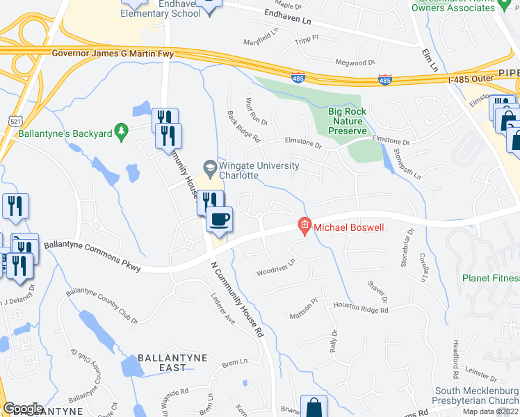 map of restaurants, bars, coffee shops, grocery stores, and more near 9200 Otter Creek Drive in Charlotte