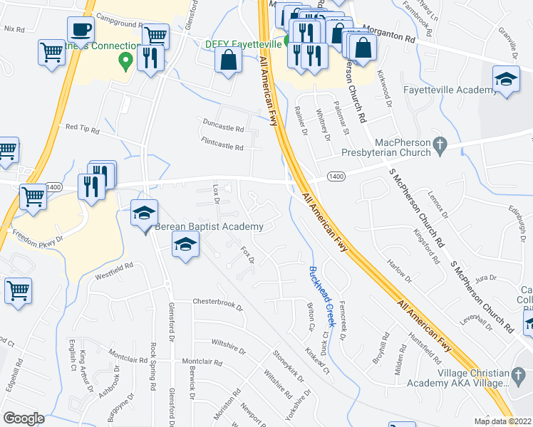 map of restaurants, bars, coffee shops, grocery stores, and more near Tradewinds Drive in Fayetteville
