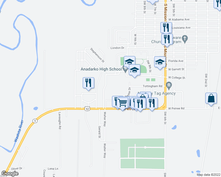 map of restaurants, bars, coffee shops, grocery stores, and more near Saint Patrick's Road in Anadarko
