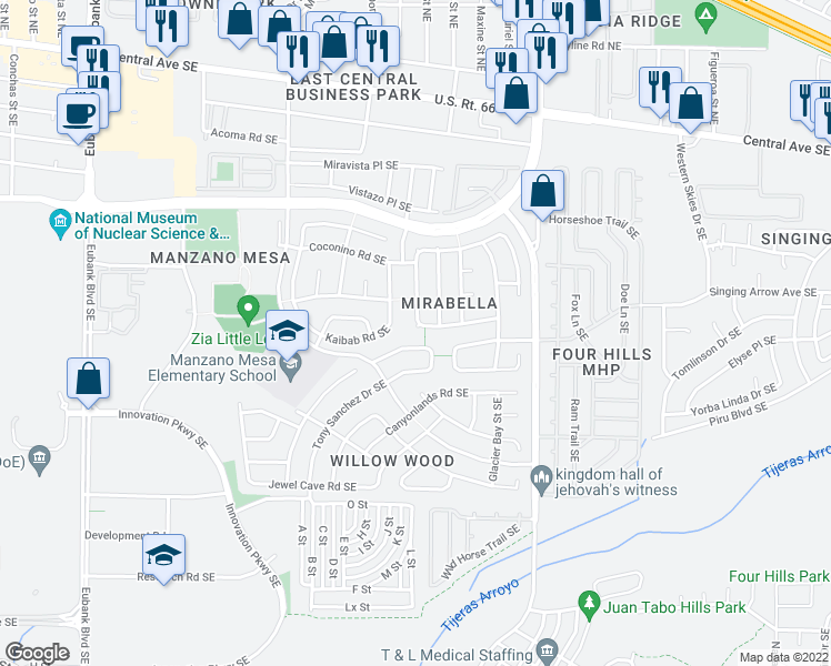 map of restaurants, bars, coffee shops, grocery stores, and more near 11400 Grand Mesa Road Southeast in Albuquerque