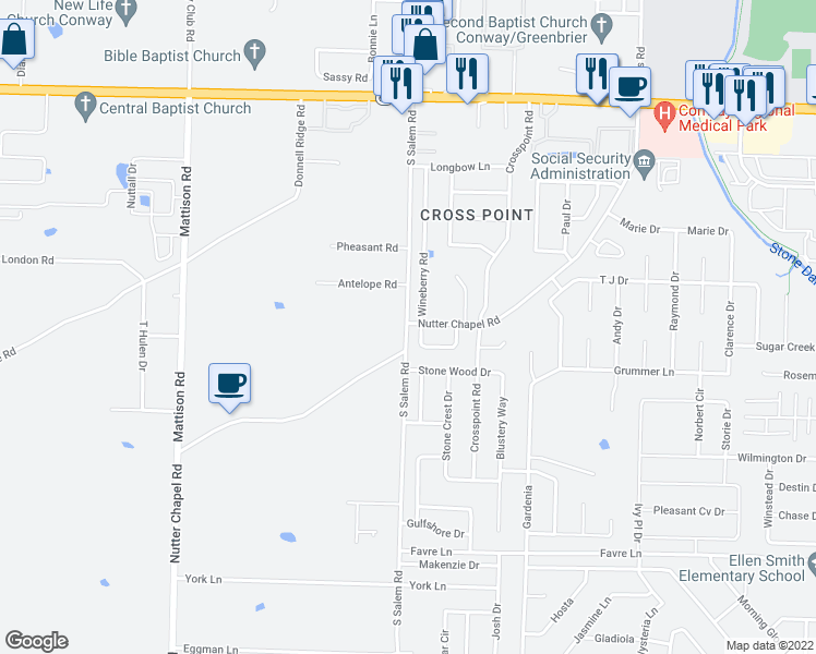 map of restaurants, bars, coffee shops, grocery stores, and more near 2901 Nutter Chapel Road in Conway