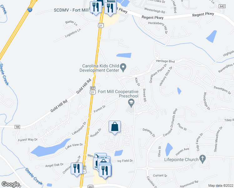map of restaurants, bars, coffee shops, grocery stores, and more near 2191 Lonnie Drive in Fort Mill