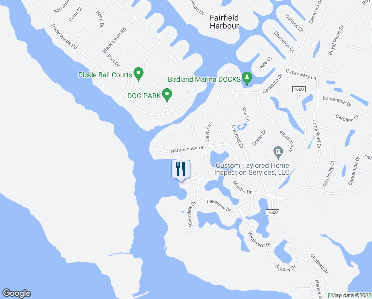 map of restaurants, bars, coffee shops, grocery stores, and more near 6118 Harbourside Drive in New Bern