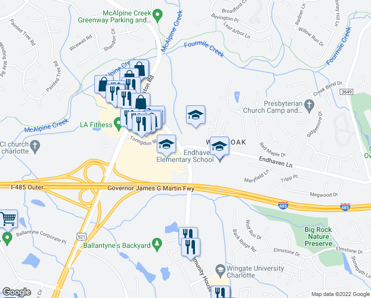 map of restaurants, bars, coffee shops, grocery stores, and more near 11936 North Community House Road in Charlotte