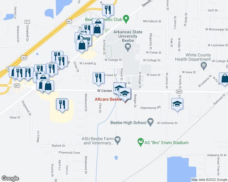 map of restaurants, bars, coffee shops, grocery stores, and more near 1306 State Highway 367 in Beebe