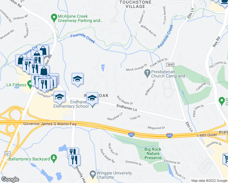 map of restaurants, bars, coffee shops, grocery stores, and more near 6727 Red Maple Drive in Charlotte