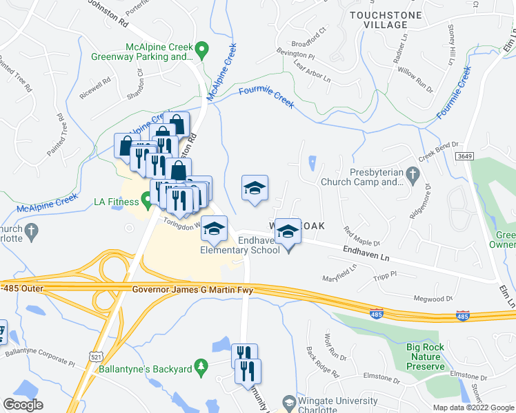 map of restaurants, bars, coffee shops, grocery stores, and more near 7200-7498 Endhaven Lane in Charlotte