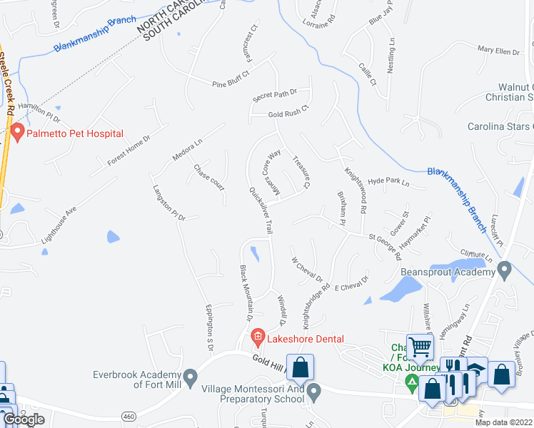 map of restaurants, bars, coffee shops, grocery stores, and more near Quicksilver Trail in Fort Mill