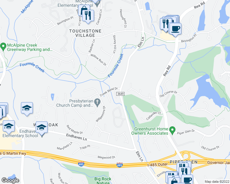 map of restaurants, bars, coffee shops, grocery stores, and more near 9909 Russet Oak Lane in Charlotte
