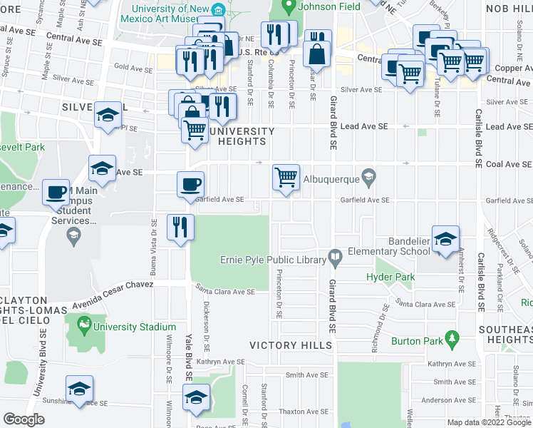 map of restaurants, bars, coffee shops, grocery stores, and more near 515 Columbia Drive Southeast in Albuquerque