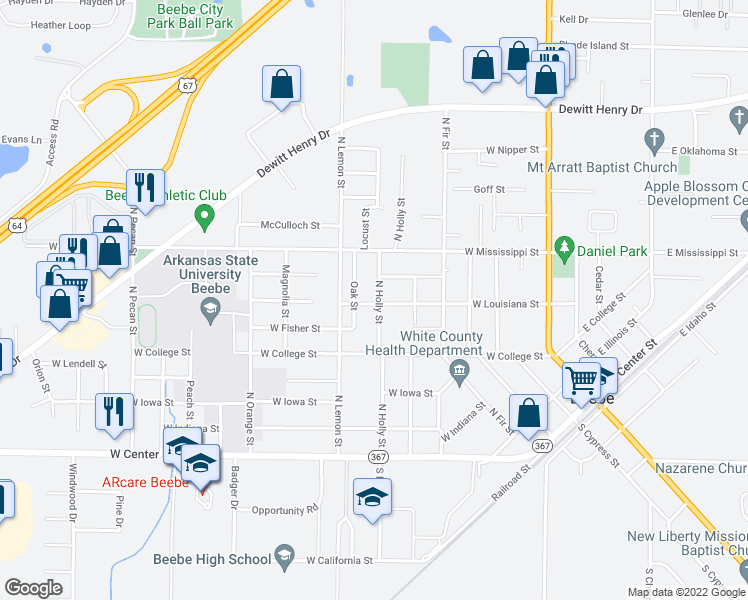 map of restaurants, bars, coffee shops, grocery stores, and more near 701 North Holly Street in Beebe