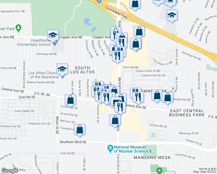 map of restaurants, bars, coffee shops, grocery stores, and more near 131 Glorieta St NE in Albuquerque