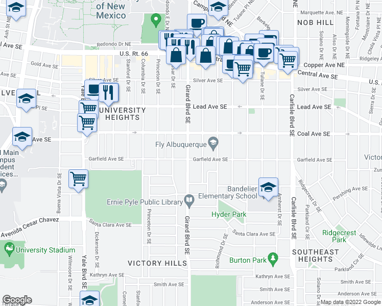 map of restaurants, bars, coffee shops, grocery stores, and more near 420 Girard Boulevard Southeast in Albuquerque