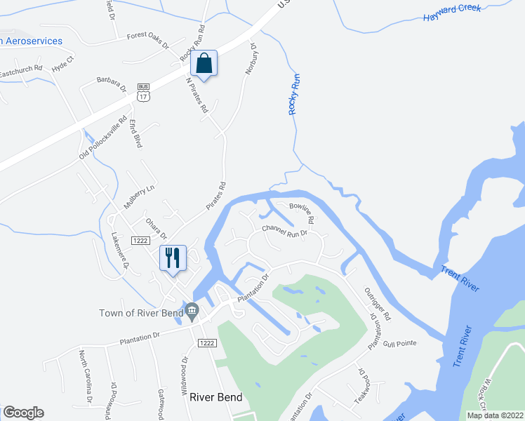 map of restaurants, bars, coffee shops, grocery stores, and more near 104 Sextant Court in New Bern