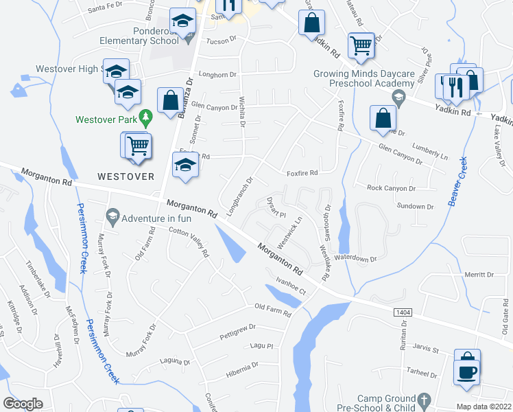 map of restaurants, bars, coffee shops, grocery stores, and more near 5650 Netherfield Place in Fayetteville