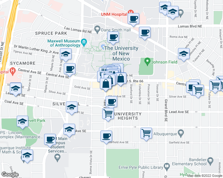 map of restaurants, bars, coffee shops, grocery stores, and more near 115 Harvard Drive Southeast in Albuquerque