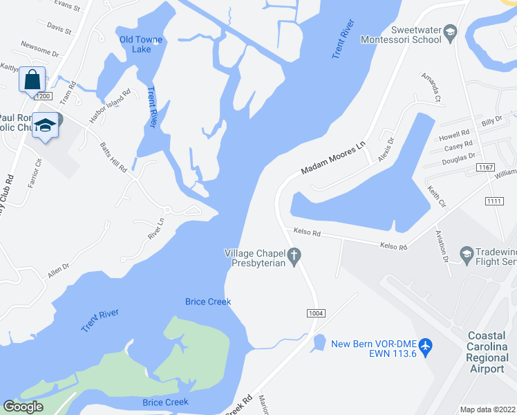 map of restaurants, bars, coffee shops, grocery stores, and more near 714 Madam Moores Lane in New Bern