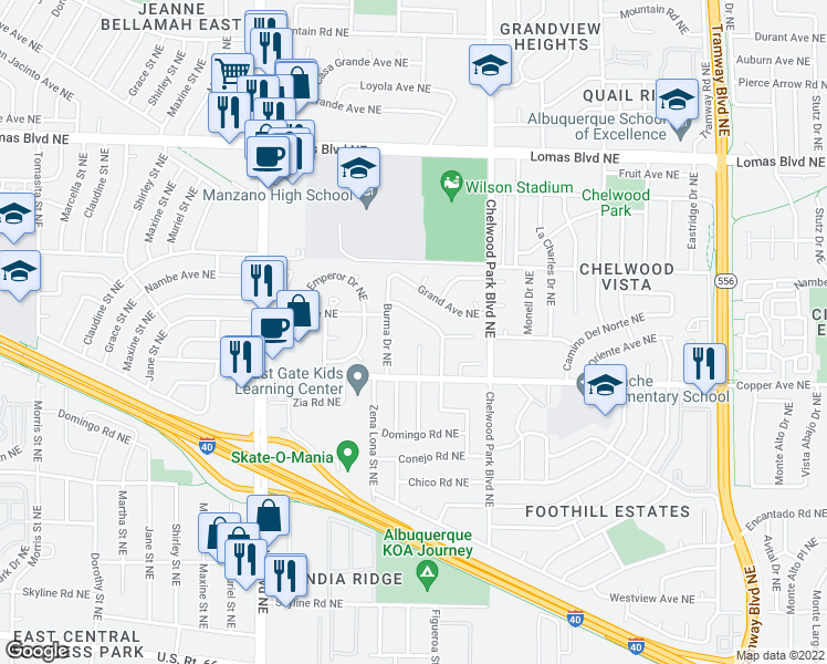 map of restaurants, bars, coffee shops, grocery stores, and more near 625 Figueroa Street Northeast in Albuquerque