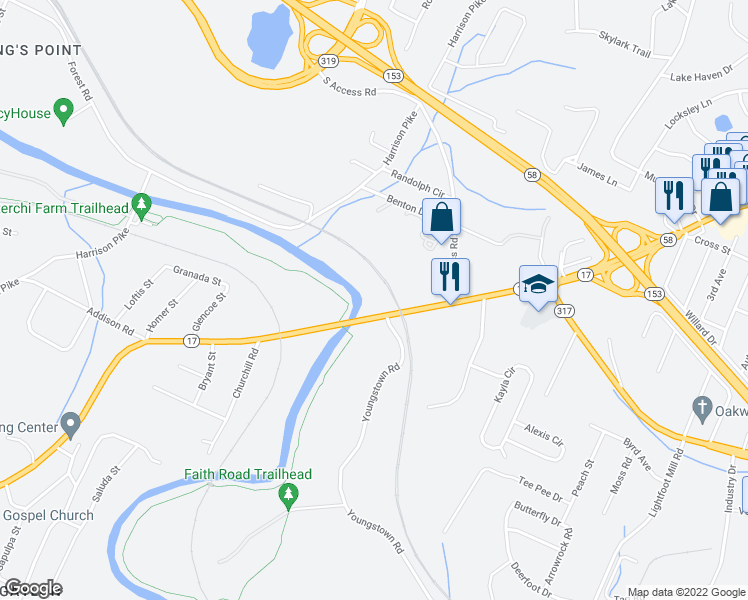 map of restaurants, bars, coffee shops, grocery stores, and more near 4251 Bonny Oaks Dr in Chattanooga