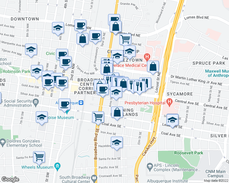 map of restaurants, bars, coffee shops, grocery stores, and more near 400 Central Avenue Southeast in Albuquerque