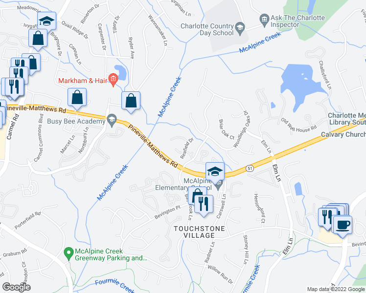 map of restaurants, bars, coffee shops, grocery stores, and more near 6609 Reafield Drive in Charlotte