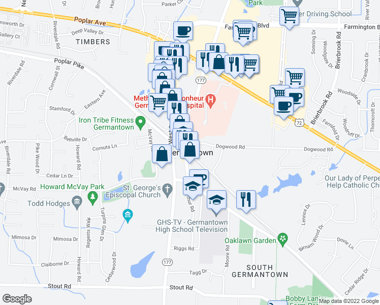 map of restaurants, bars, coffee shops, grocery stores, and more near in Germantown