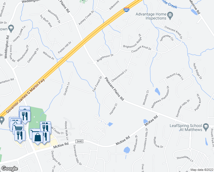 map of restaurants, bars, coffee shops, grocery stores, and more near 2408 Pleasant Plains Road in Matthews