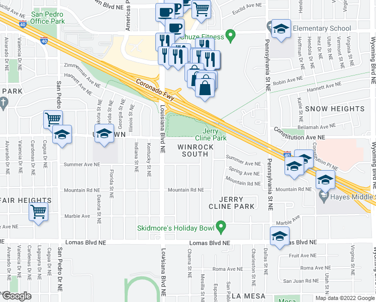 map of restaurants, bars, coffee shops, grocery stores, and more near 7100 Constitution Avenue Northeast in Albuquerque