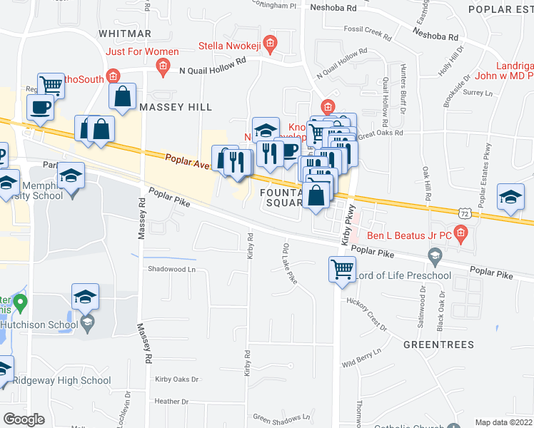 map of restaurants, bars, coffee shops, grocery stores, and more near 6588 Poplar Woods Circle South in Germantown