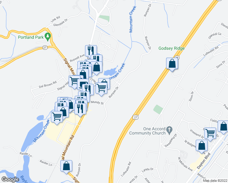 map of restaurants, bars, coffee shops, grocery stores, and more near 715-719 Runyan Drive in Chattanooga