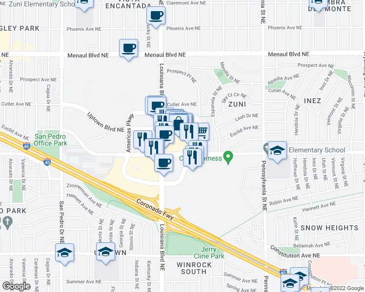 map of restaurants, bars, coffee shops, grocery stores, and more near 2240 Q Street Northeast in Albuquerque