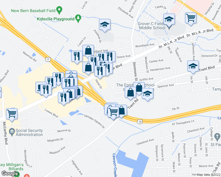 map of restaurants, bars, coffee shops, grocery stores, and more near 2410 Griffin Avenue in New Bern