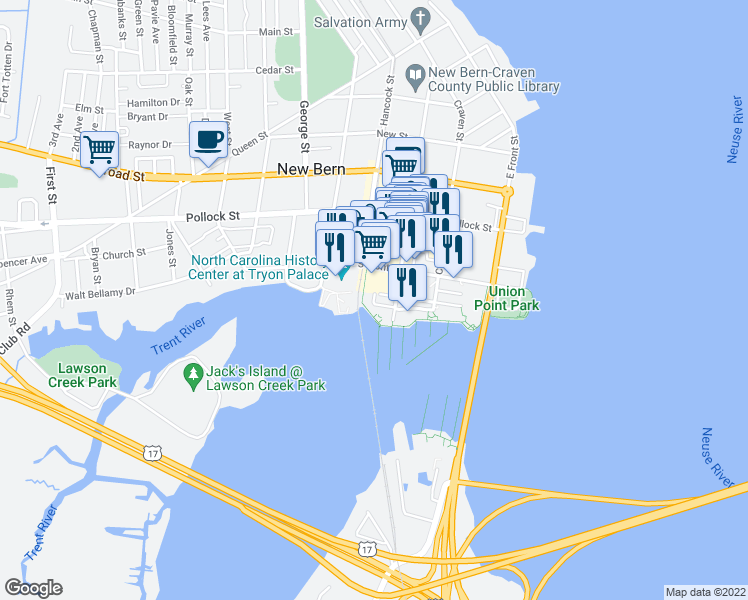 map of restaurants, bars, coffee shops, grocery stores, and more near 320 Sky Sail Boulevard in New Bern
