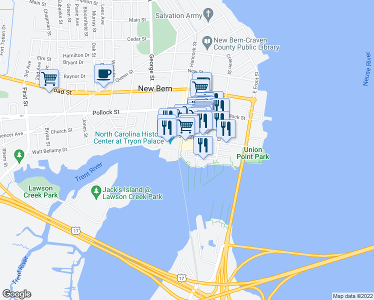 map of restaurants, bars, coffee shops, grocery stores, and more near 234 Sky Sail Boulevard in New Bern