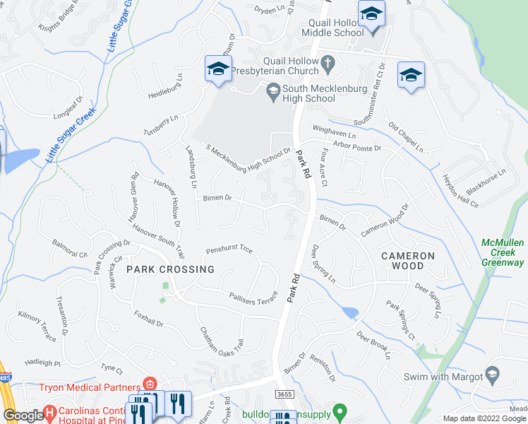 map of restaurants, bars, coffee shops, grocery stores, and more near 9320 Kings Falls Drive in Charlotte
