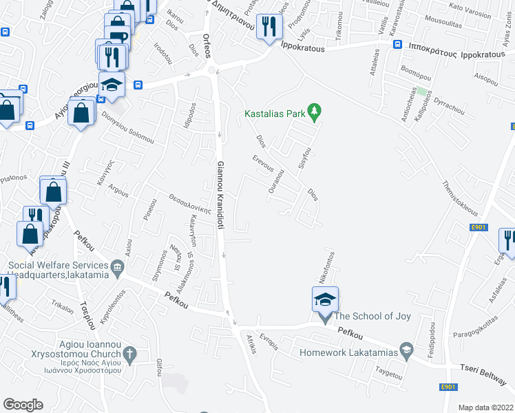 map of restaurants, bars, coffee shops, grocery stores, and more near Okeanou in Nicosia
