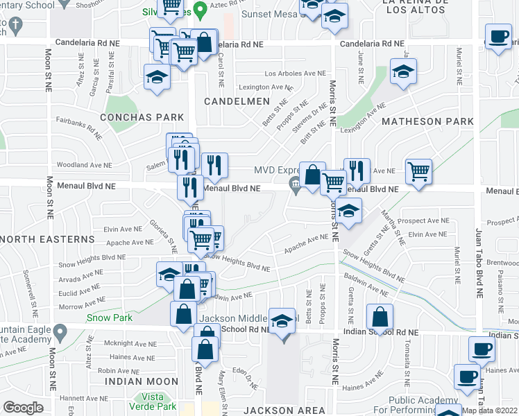 map of restaurants, bars, coffee shops, grocery stores, and more near 10000 Menaul Boulevard Northeast in Albuquerque