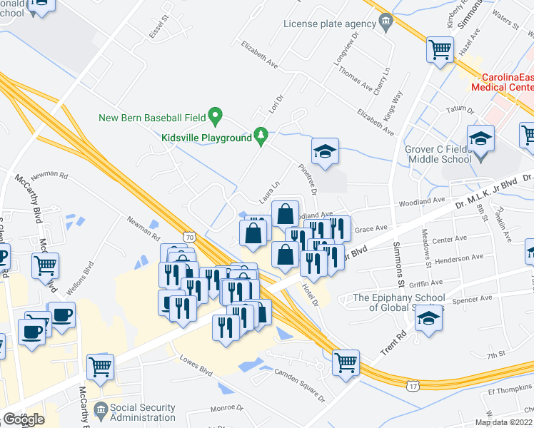 map of restaurants, bars, coffee shops, grocery stores, and more near 2590 Woodland Avenue in New Bern