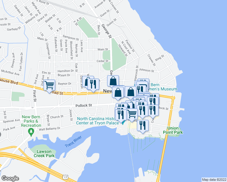 map of restaurants, bars, coffee shops, grocery stores, and more near in New Bern