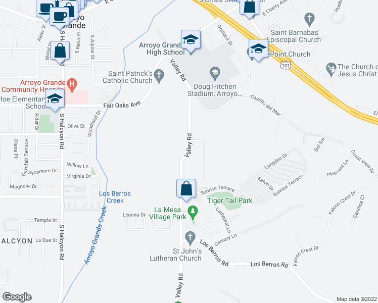 map of restaurants, bars, coffee shops, grocery stores, and more near 701-761 Valley Road in Arroyo Grande