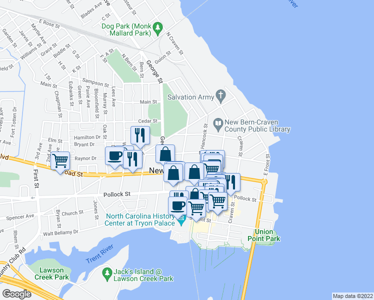 map of restaurants, bars, coffee shops, grocery stores, and more near 520 New Street in New Bern