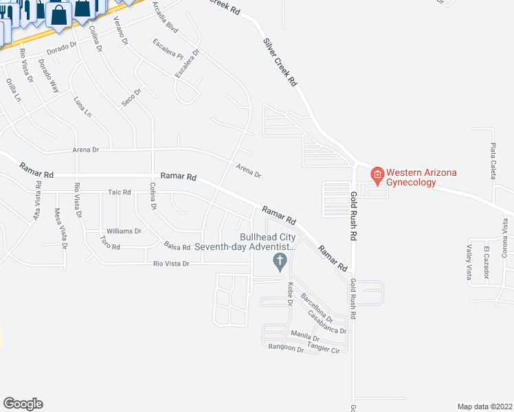 map of restaurants, bars, coffee shops, grocery stores, and more near Ramar Rd & Arriba Dr in Bullhead City