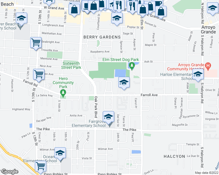 map of restaurants, bars, coffee shops, grocery stores, and more near 418 Bakeman Lane in Arroyo Grande